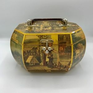 Vintage Wooden Handbag Old World Country Case Tote